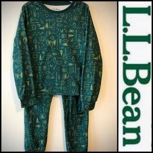 L.L. Bean Kids Green Pajama Set